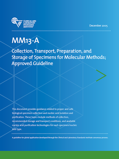 Collection, Transport, Preparation, and Storage of Specimens for Molecular Methods, 1st Edition