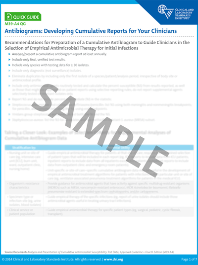 Antibiograms: Developing Cumulative Reports for Your Clinicians